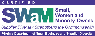 Certified SWaM Business. Small, Women and Minority-Owned, Supplier Diversity Strengthens the Commonwealth, Virginia Department of Small Business and Supplier Diversity