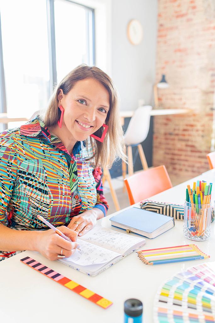 Jolinda Smithson Design Shapes Colors colorful designer at work